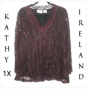 Kathy Ireland Purple Lace Blouse Top